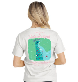 SIMPLY SOUTHERN TEES STATE OF MIND DE WHITE TEE SHIRT