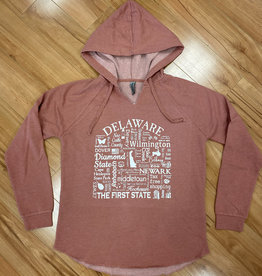 WHERE LIFE TAKES YOU LLC DUSTY ROSE WOMENS DELAWARE HOODIE