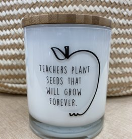 UNPLUG SOY CANDLES LLC 11.5oz. Teachers Plant The Seeds White Tea Candle