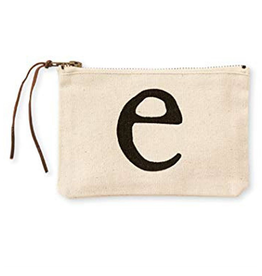 MUDPIE E INITIAL CANVAS COSMETIC BAG MUD