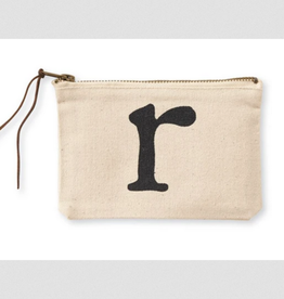MUDPIE R INITIAL CANVAS COSMETIC BAG MUD