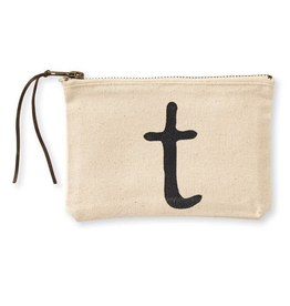 MUDPIE T INITIAL CANVAS COSMETIC BAG MUD