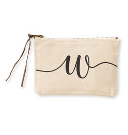 MUDPIE W INITIAL CANVAS COSMETIC BAG MUD
