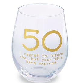 MUDPIE 50 BIRTHDAY BOXED WINE GLASS