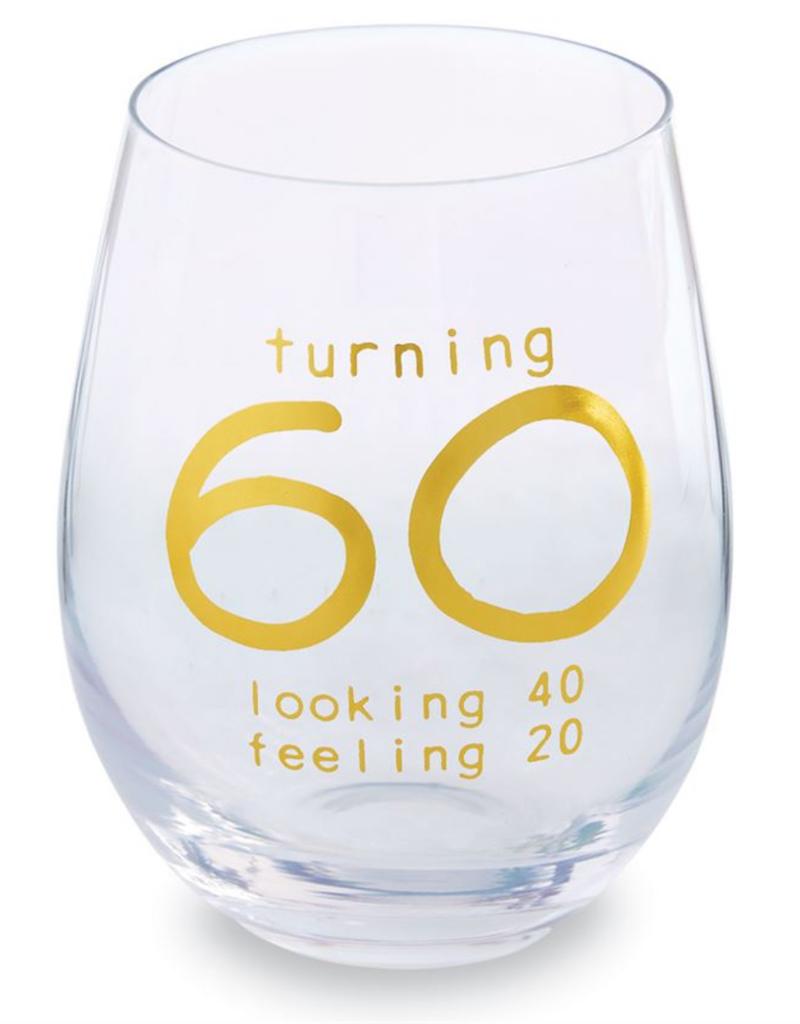 MUDPIE 60 BIRTHDAY BOXED WINE GLASS