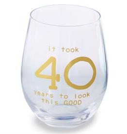 MUDPIE 40 BIRTHDAY BOXED WINE GLASS