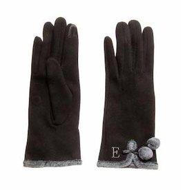 MUDPIE Initial E Fur Trim Knit Gloves