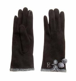 MUDPIE MUDPIE-Initial E Fur Trim Knit Gloves