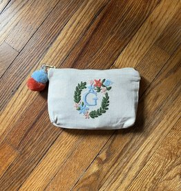 MUDPIE G INITIAL EMBROIDERED POUCH