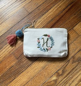 MUDPIE H INITIAL EMBROIDERED POUCH