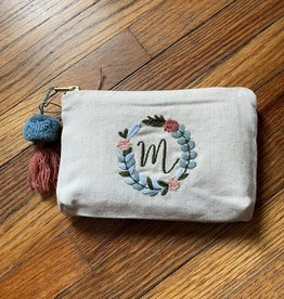 MUDPIE M INITIAL EMBROIDERED POUCH
