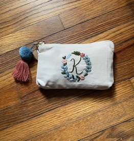 MUDPIE K INITIAL EMBROIDERED POUCH MUD