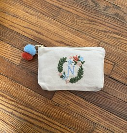 MUDPIE N INITIAL EMBROIDERED POUCH