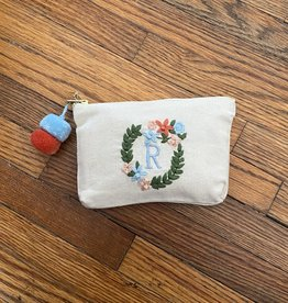 MUDPIE R INITIAL EMBROIDERED POUCH MUD