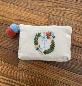 MUDPIE T INITIAL EMBROIDERED POUCH