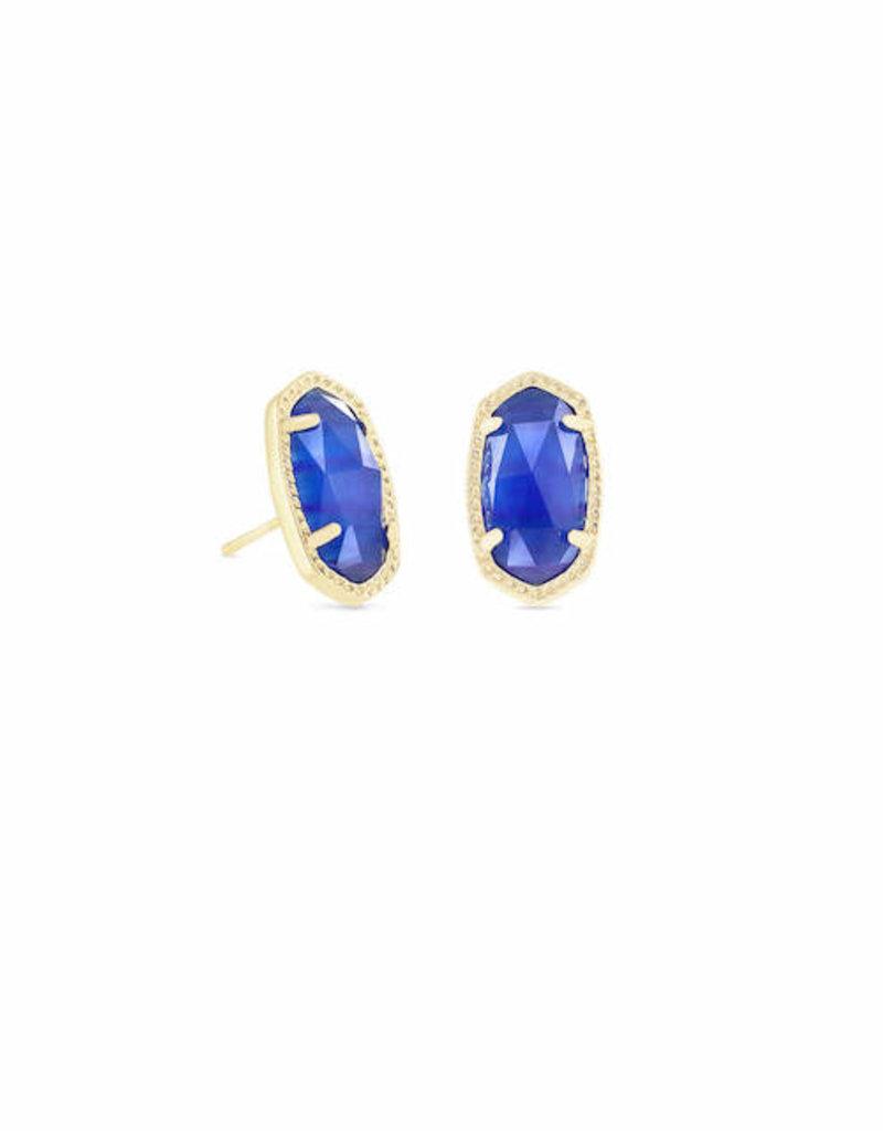 KENDRA SCOTT Ellie Gold Stud Earrings In Cobalt Cats Eye