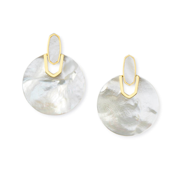 KENDRA SCOTT DIDI EARRING GOLD IVORY MOTHER OF PEARL