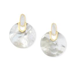 KENDRA SCOTT Didi Gold Statement Earrings In Ivory Pearl