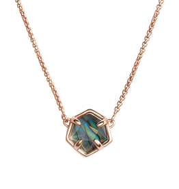 KENDRA SCOTT CANON NECKLACE ROSE GOLD ABALONE SHELL