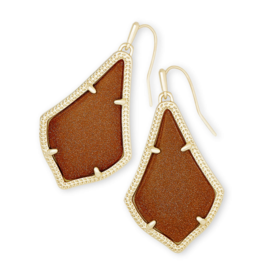 KENDRA SCOTT ALEX EARRING GOLD ORANGE GOLDSTONE