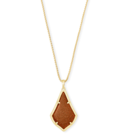KENDRA SCOTT ALEX PENDANT NECKLACE GOLD ORANGE GOLDSTONE