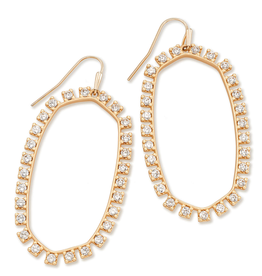 KENDRA SCOTT Danielle Open Frame Earring Rose Gold Metal White CZ