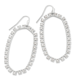 KENDRA SCOTT Danielle Open Frame Earring Silver Metal White CZ