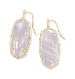 KENDRA SCOTT Faceted Elle Earring Gold Ivory Mother Of Pearl