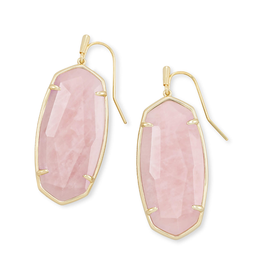 KENDRA SCOTT Faceted Elle Earrings Gold Rose Quartz