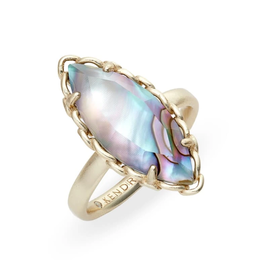 KENDRA SCOTT GWENYTH COCKTAIL RING GOLD NUDE ABALONE 6