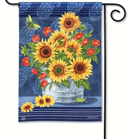 GARDEN FLAG DENIM SUNFLOWERS