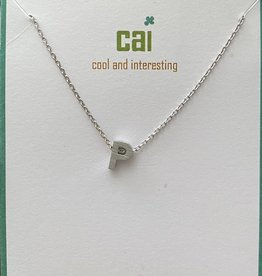 P INITIAL SILVER BLOCK NECKLACE CAI