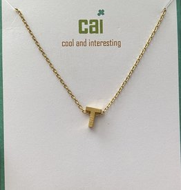 T INITIAL GOLD BLOCK NECKLACE CAI
