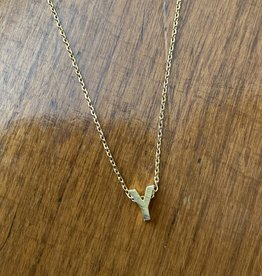 Y INITIAL GOLD BLOCK NECKLACE