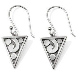 BRIGHTON JA4321 CONTEMPO ICE REVERSIBLE TRIANGLE FRENCH WIRE EARRINGS