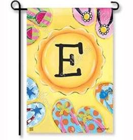 """GARDEN FLAG SOAK UP THE SUN INITIAL """"E"""""""
