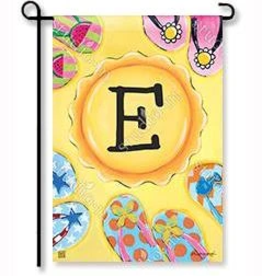 "MAGNET WORKS LTD GARDEN FLAG SOAK UP THE SUN INITIAL ""E"""