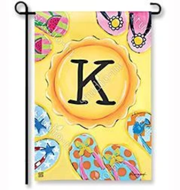 "MAGNET WORKS LTD GARDEN FLAG SOAK UP THE SUN INITIAL ""K"""