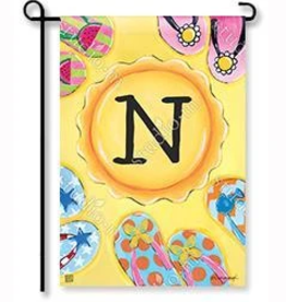 "MAGNET WORKS LTD GARDEN FLAG SOAK UP THE SUN INITIAL ""N"""