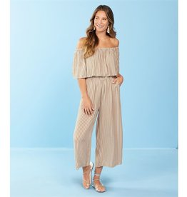 MUDPIE OLSEN OFF-THE-SHOULDER JUMPSUIT IN TAUPE STRIPE