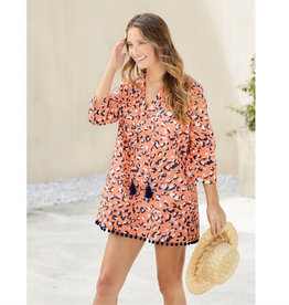 MUDPIE Beach Cover Up-Lacey Pom Pom n Pink Leopard