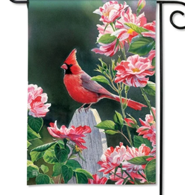 GARDEN FLAG CARDINAL WITH VARIEGATED ROSES