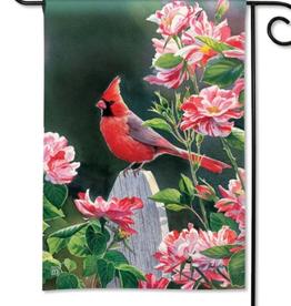 MAGNET WORKS LTD GARDEN FLAG CARDINAL WITH VARIEGATED ROSES