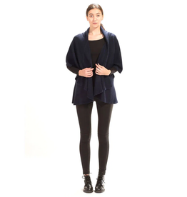 LOOK BY M BASIC SHAWL VEST NAVY