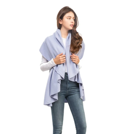 LOOK BY M BASIC SHAWL VEST PERIWINKLE