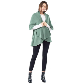 LOOK BY M BASIC SHAWL VEST VIVI GREEN