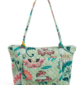 VERA BRADLEY Carson East West Tote Mint Flowers