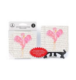 SJT ENTERPRISES INC Coaster w/Easel-Flamingo W/Heart Shaped Wings