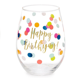 SLANT COLLECTIONS HAPPY BIRTHYAY DOTS STEMLESS 20OZ