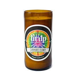 LIT UP CANDLE CO 8oz. Beer Bottle Candle Cannabis Flower